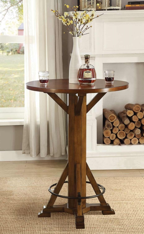 100487 Round Bar Table - Chestnut