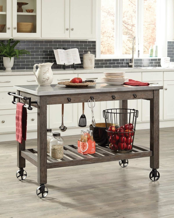 Davenport Kitchen Island - Gunmetal