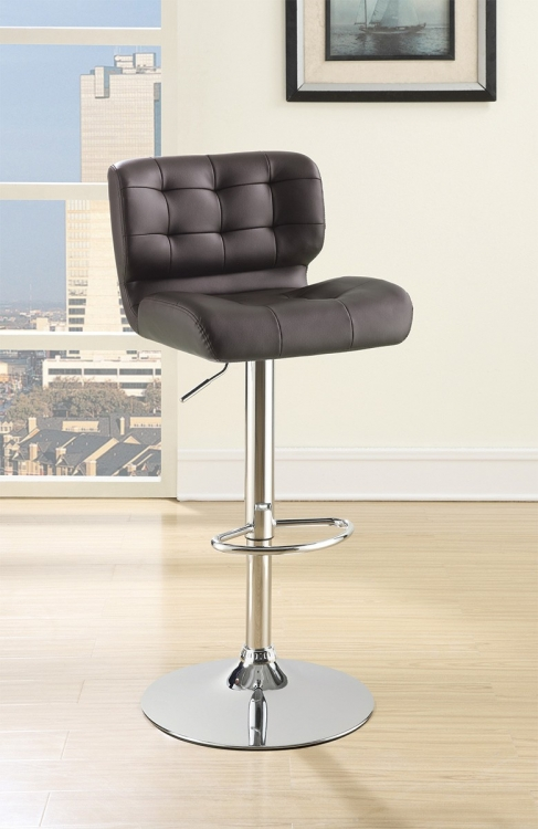 100544 Adjustable Bar Stool - Chrome/Brown