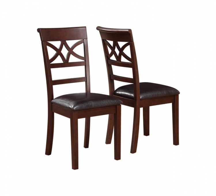 Dunham Side Chair - Brown Red/Dark Brown Leatherette