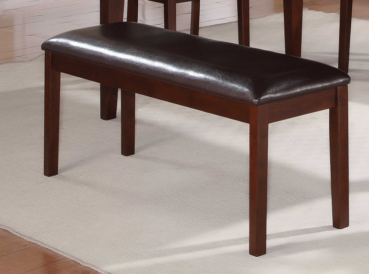 Dunham Dining Bench - Brown Red/Dark Brown Leatherette