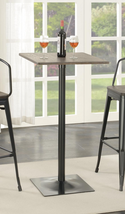 100730 Square Bar Table - Matte Black/Dark Elm