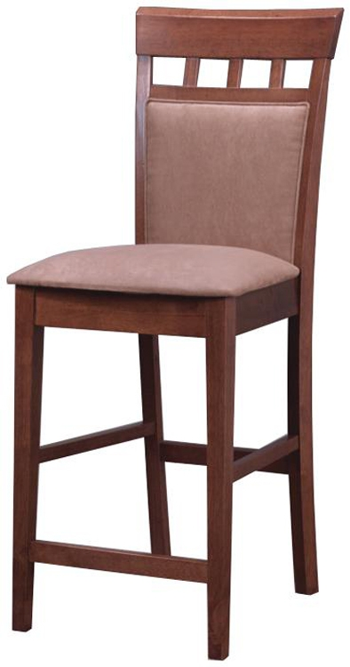 Mix and Match 24 Inch Upholstered Panel Counter Stool - Walnut