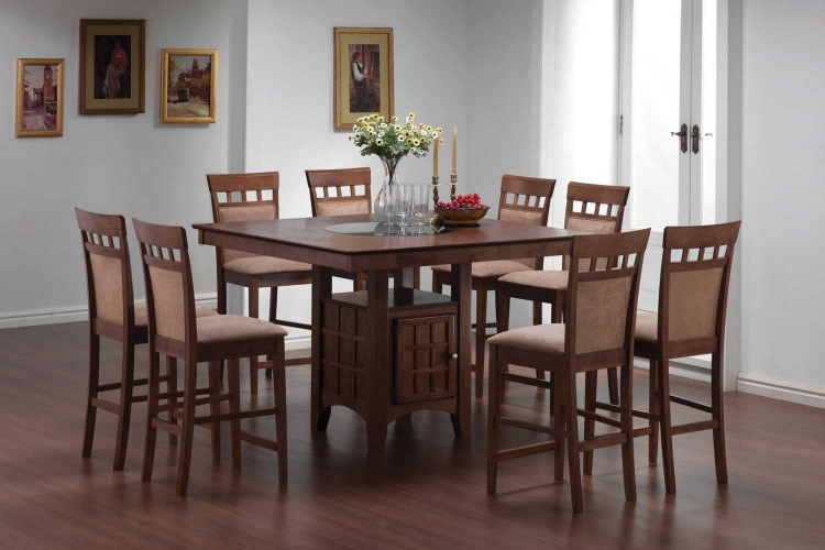 Mix And Match Counter Height Dining Table Set With Storage Pedestal Base    Walnut