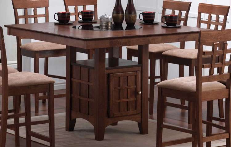Mix and Match Counter Height Dining Table with Storage Pedestal Base - Walnut
