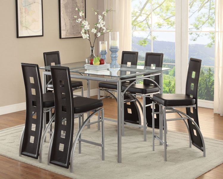 Los Feliz Rectangular Glass Counter Height Dining Set - Matte Silver
