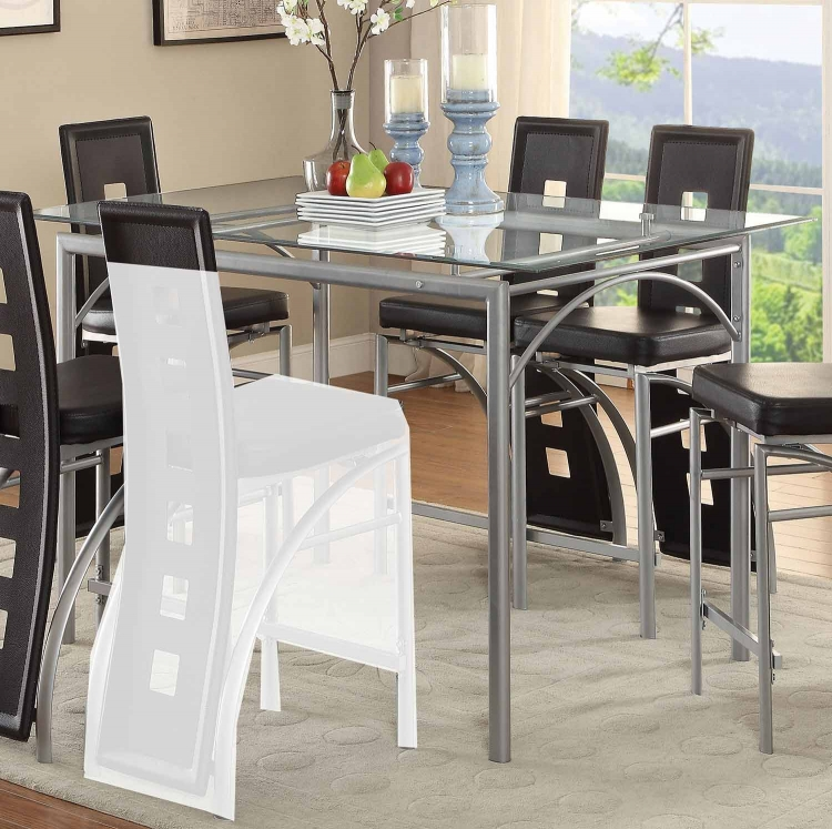 Los Feliz Rectangular Glass Counter Height Dining Table - Matte Silver