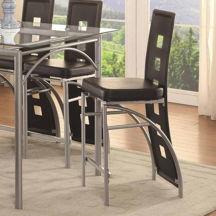 Los Feliz Counter Height Chair - Matte Silver/Black