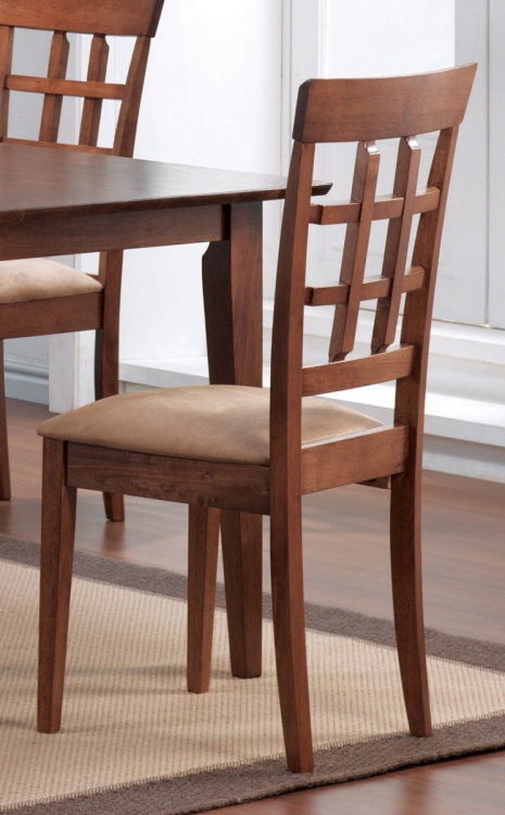 101772 Side Chair - Chestnut/Warm Tan Fabric