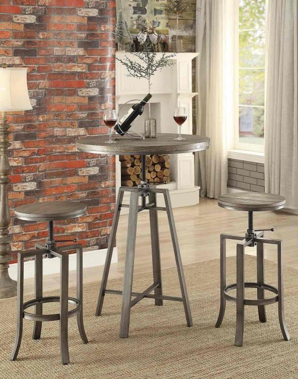 101811 Adjustable Bar Table - Wire Brushed Nutmeg/Brushed Slate Grey