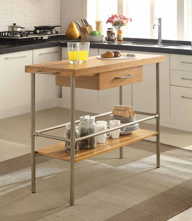 102166 Kitchen Island - Bamboo/Matte Warm Silver