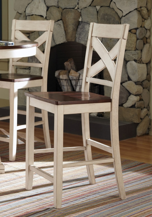 Ellinger Counter Height Chair - Antique Oak/White