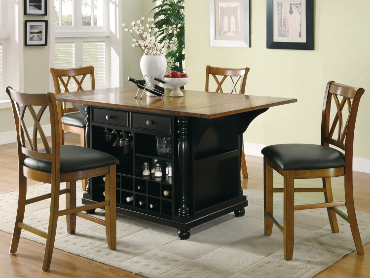 102270 Kitchen Island Set - Black/Brown