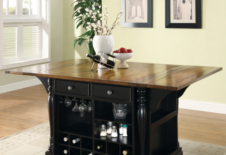 102270 Kitchen Island - Black/Brown