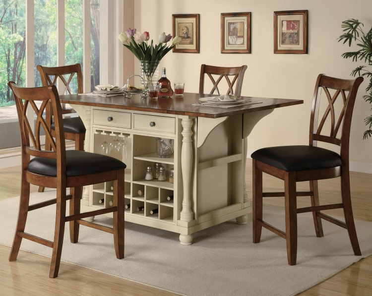 102270 Kitchen Island Set - Buttermilk/Brown