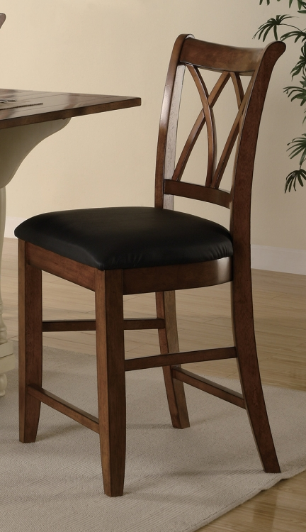 102272 Counter Height Stool - Brown/Black Leatherette