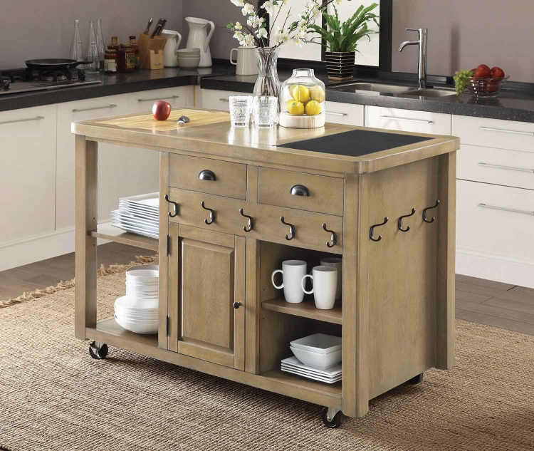 102286 Kitchen Cart - Weathered Natural