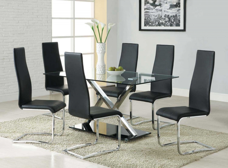 Mix & Match Metal Glass Top Dining Set - Black Chair