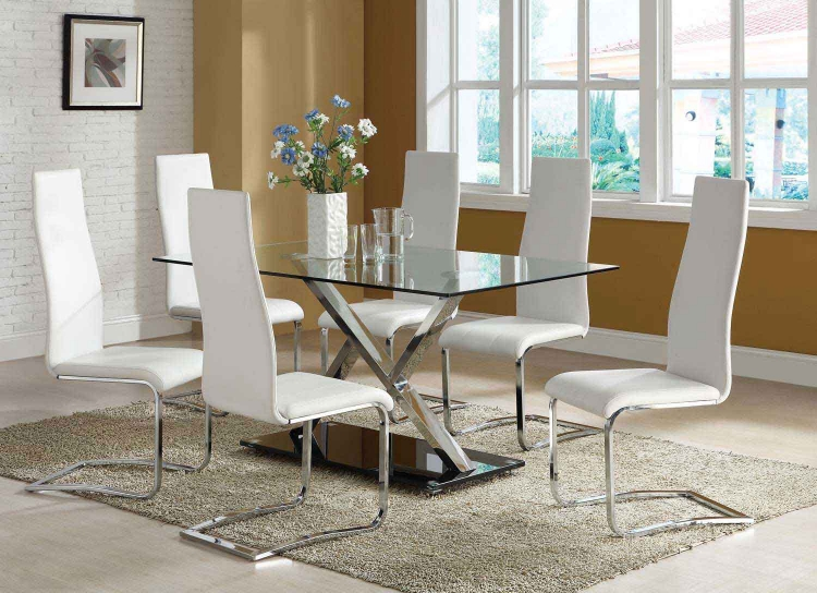 Mix & Match Metal Glass Top Dining Set - White Chair
