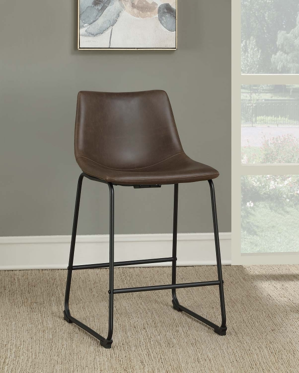 102535 Counter Height Stool - Two-Tone Brown Leatherette/Black Legs