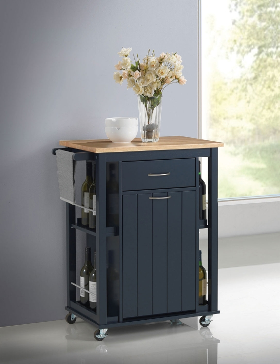 102664 Kitchen Cart - Natural and Navy Blue