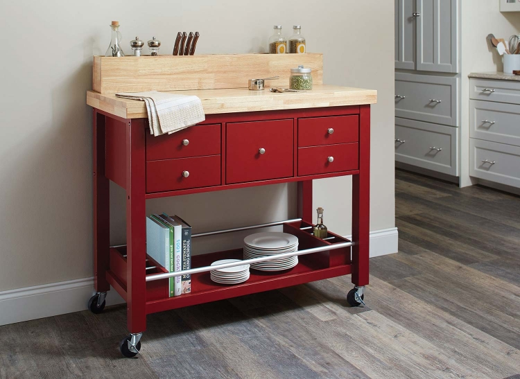 102667 Kitchen Cart - Natural and Red