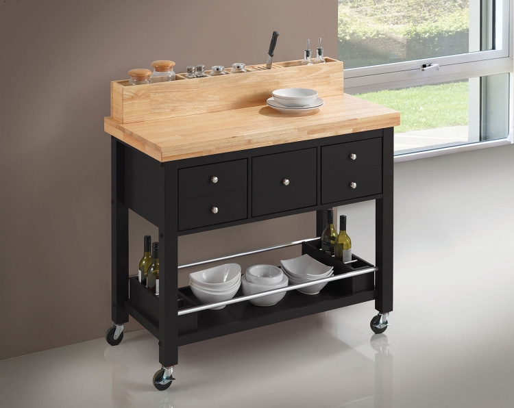 102668 Kitchen Cart - Natural and Black