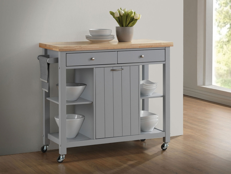 102674 Kitchen Cart - Natural and Light Grey