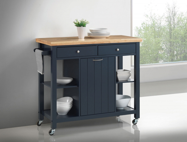 102675 Kitchen Cart - Natural and Navy Blue