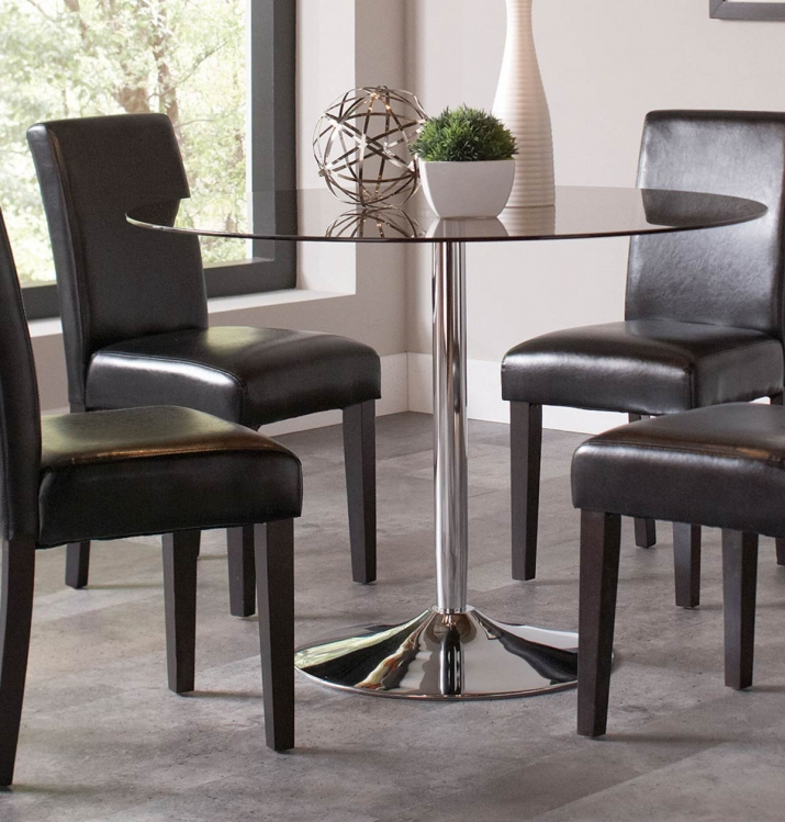 Clemente Round Smoke Glass Dining Table - Chrome