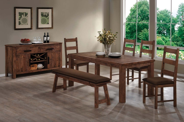 Maddox Dining Set - Rustic Brown - Coaster