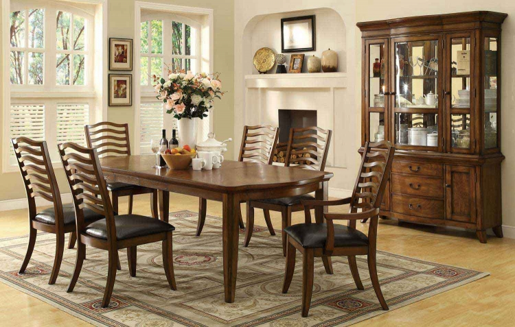Avery Dining Set - Brown Oak