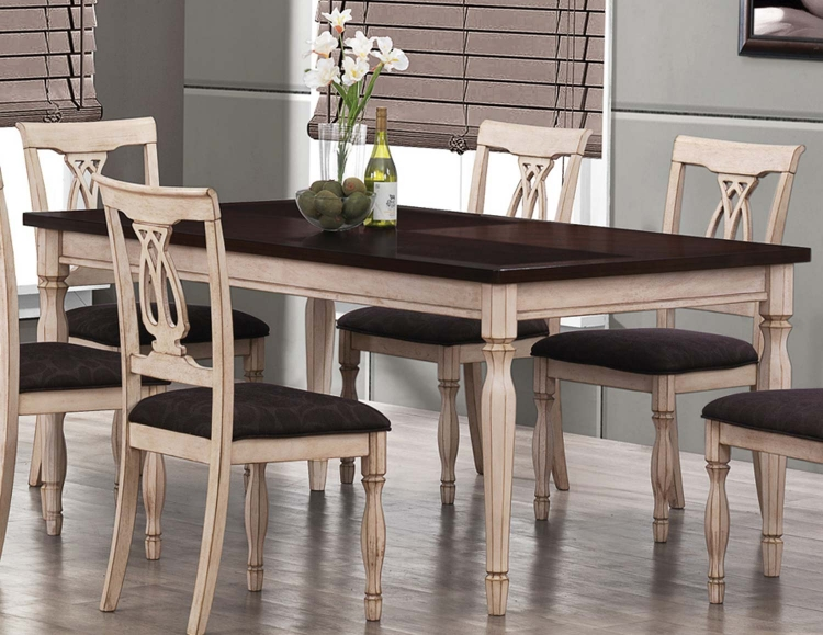 Camille Dining Table - Antique White and Merlot