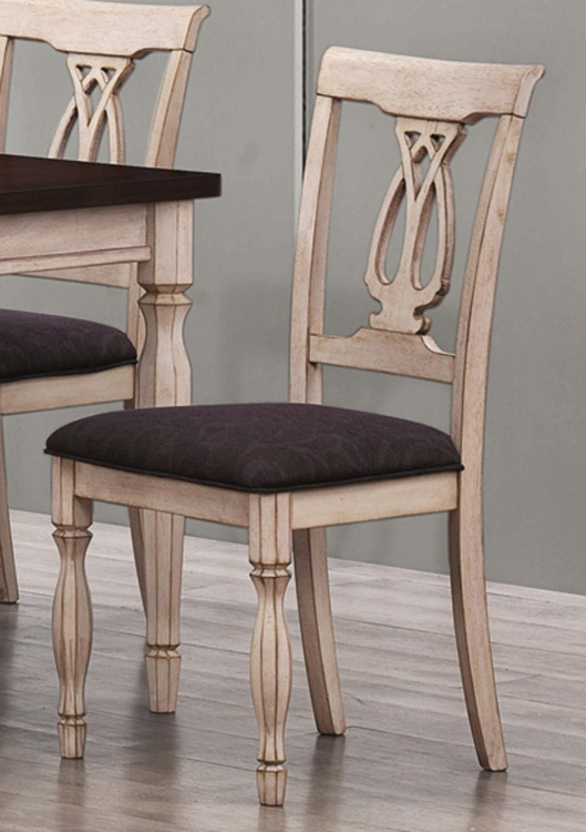 Camille Side Chair - Antique White and Merlot