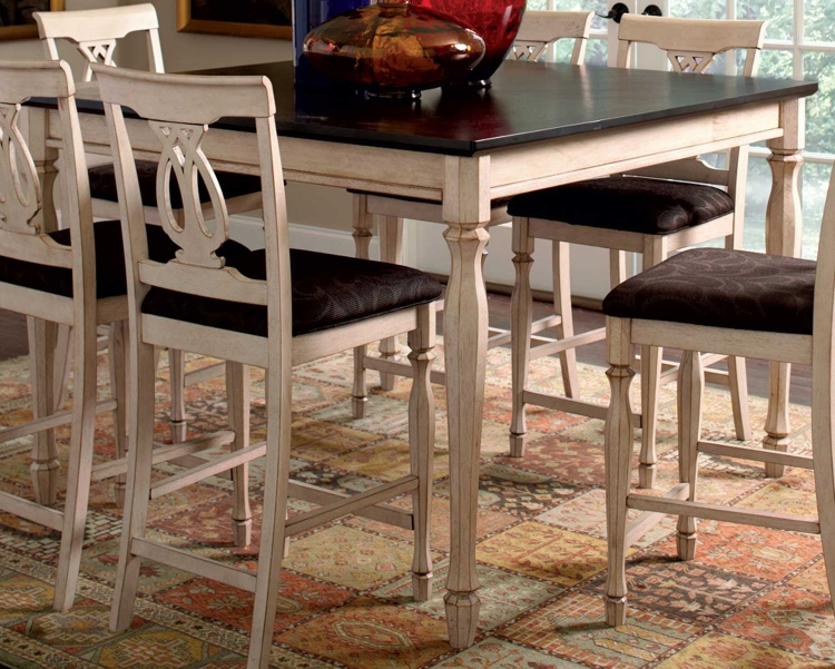 Camille Counter Height Table - Antique White & Marlot