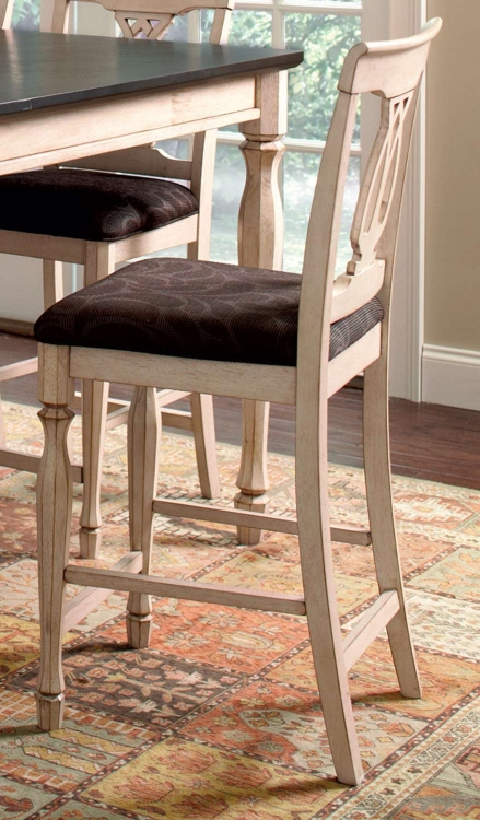 Camille Counter Height Stool - Antique White & Marlot