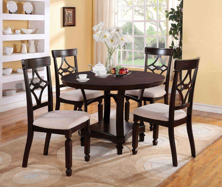 Maude Round Dining Set - Cappuccino