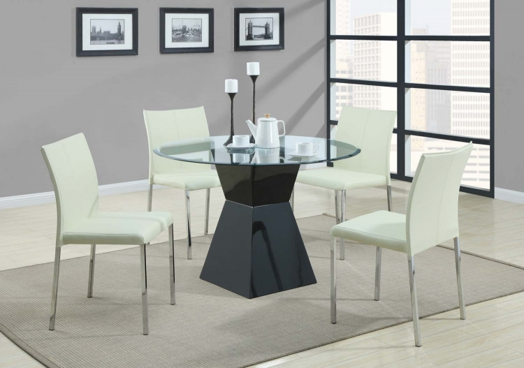 103731 Round Glass Dining Set - Cream Chair - Coaster