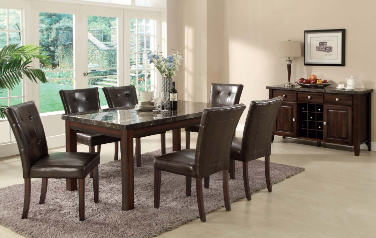 Milton Rectangular Dining Set - Dark Top - Cappuccino
