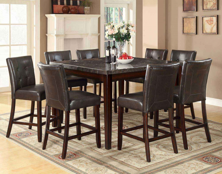 Milton Square Counter Height Dining Set - Dark Top - Cappuccino