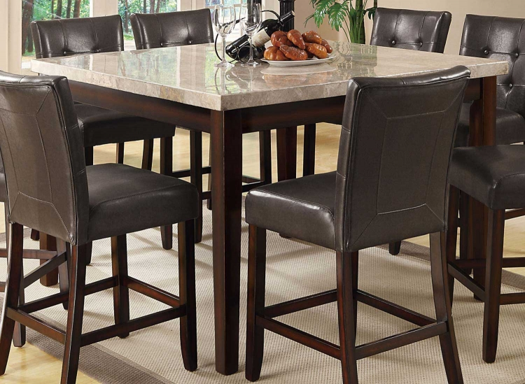 Milton Square Counter Height Table - Light Top - Cappuccino