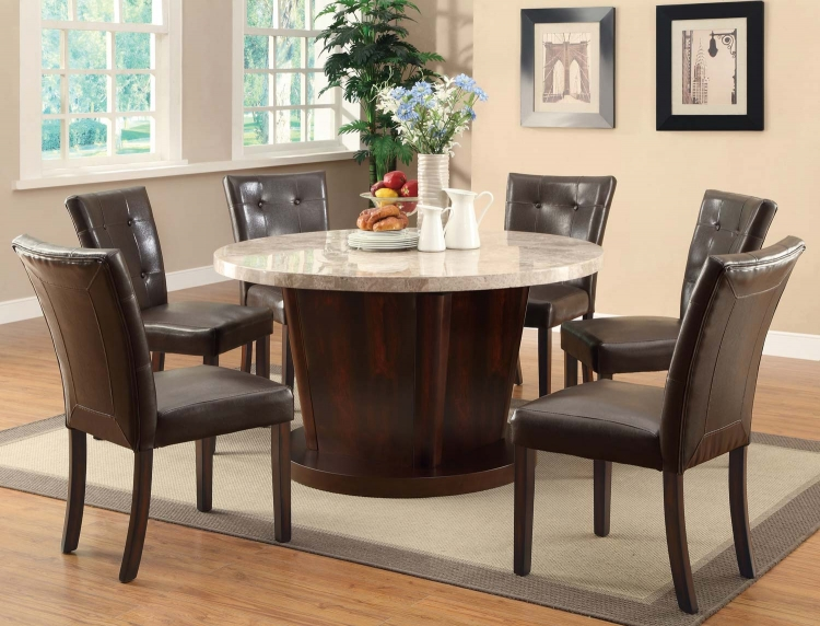 Milton Round Dining Set - Light Top - Cappuccino - Coaster