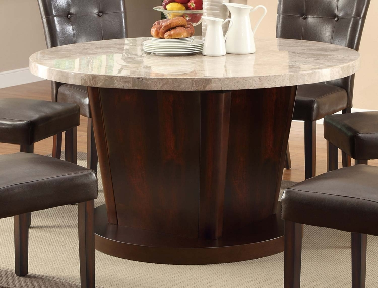 Milton 54in Round Table - Light Top - Cappuccino