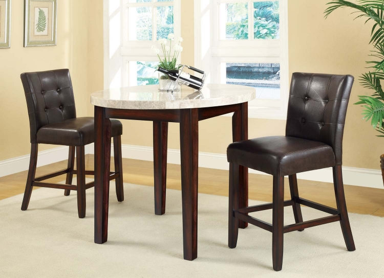 Milton Round Counter Height Dining Set - Light Top - Rich Cherry