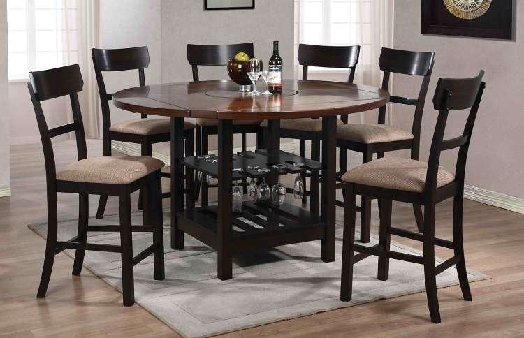Cantrell Counter Height Dining Set - Light/Dark Walnut