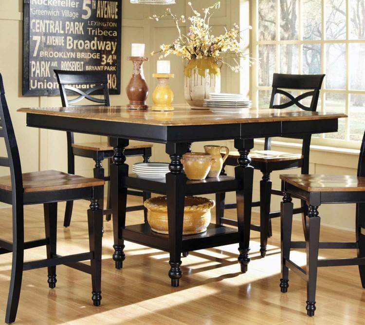 Ashley Counter Height Table - Black/Oak