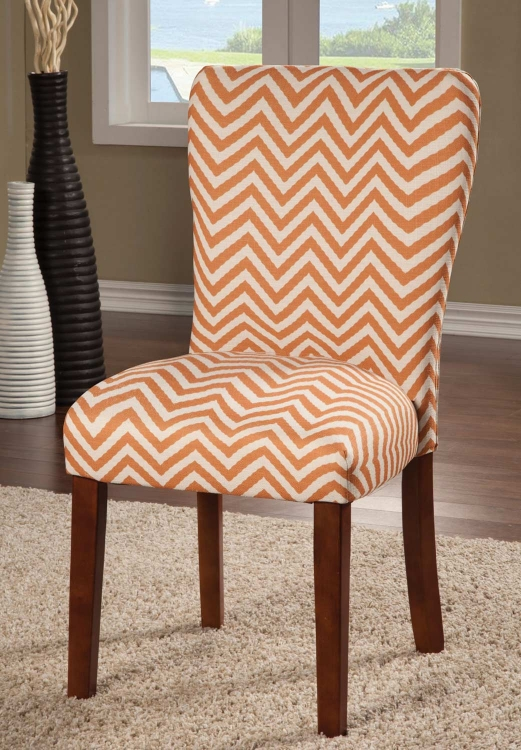 Parson Side Chair - Orange Chevron