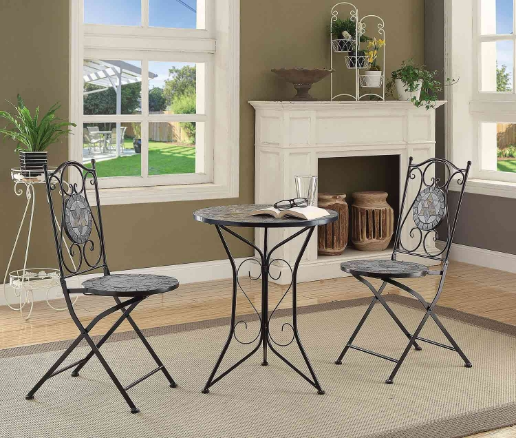 104163 3 PC Dining Set with Mosaic Tiles - Multi-Neutral