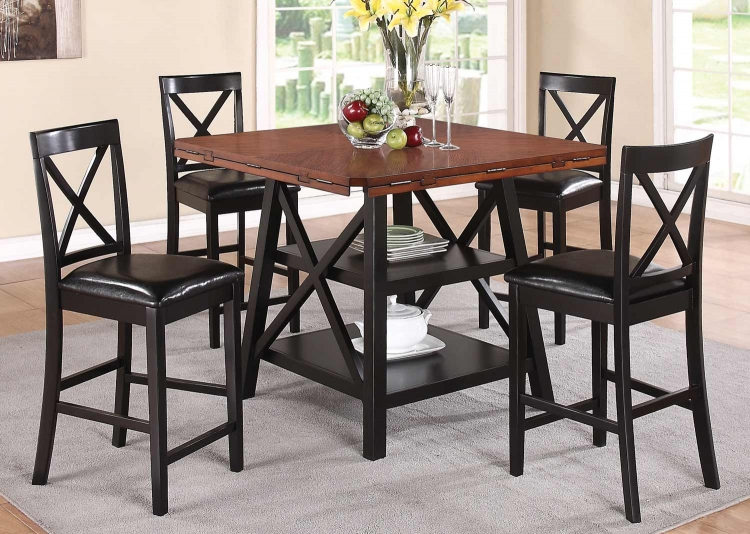 Austin Counter Height Dining Set - Rustic Oak/Black