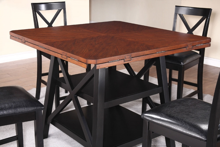 Austin Counter Height Table - Rustic Oak/Black